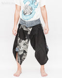 Samurai Harem Pants Unique Wrap Around Waist Black Japanese Waves Flying Koi Fish Sakura Size M front