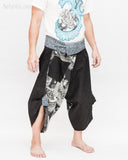 Samurai Harem Pants Unique Wrap Around Waist Black Japanese Waves Flying Koi Fish Sakura Size M side