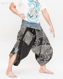 Samurai Harem Pants Unique indigo Wrap Around fold over Waist Black Dragon Japanese Waves Size M flexible active performing martial art parkour trousers wide