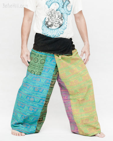 Soft Yoga Stonewashed Rustic Sweet Colorful Nepali Cotton Vintage Hippie Fisherman Pants OMF-9 right