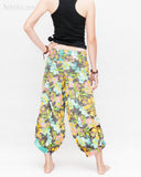 Summer Cropped Pants 4/5 Length Comfortable Crinkle Cotton Hibiscus Flower Beach Islander Capri Green back