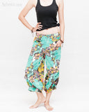 Summer Cropped Pants 4/5 Length Comfortable Crinkle Cotton Hibiscus Flower Beach Islander Capri Green relax