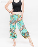 Summer Cropped Pants 4/5 Length Comfortable Crinkle Cotton Hibiscus Flower Beach Islander Capri Green side