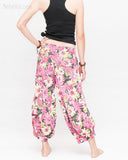 Summer Cropped Pants 4/5 Length Comfortable Crinkle Cotton Hibiscus Flower Beach Islander Capri Pink back
