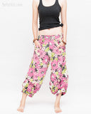 Summer Cropped Pants 4/5 Length Comfortable Crinkle Cotton Hibiscus Flower Beach Islander Capri Pink front
