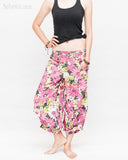 Summer Cropped Pants 4/5 Length Comfortable Crinkle Cotton Hibiscus Flower Beach Islander Capri Pink relax