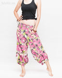 Summer Cropped Pants 4/5 Length Comfortable Crinkle Cotton Hibiscus Flower Beach Islander Capri Pink side