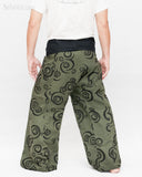 Tribal Printed Cotton Thai Fisherman Pants Moon Crescent Spiral Green Handmade Wrap Trousers back
