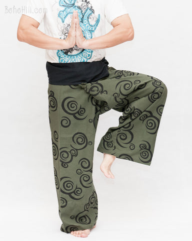 Tribal Printed Cotton Thai Fisherman Pants Moon Crescent Spiral Green Handmade Wrap Trousers namaste