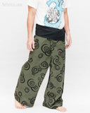 Tribal Printed Cotton Thai Fisherman Pants Moon Crescent Spiral Green Handmade Wrap Trousers walk