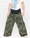 Tribal Printed Cotton Thai Fisherman Pants Moon Crescent Spiral Green Handmade Wrap Trousers wide