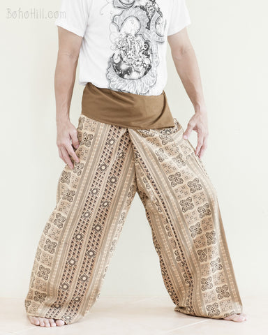 Tribal Thai Fisherman Pants Wrap Around Cotton Pajama Trousers Long Belt Extra Long For Tall People Plus Size Fold Over Waist Loose Fit Yoga Pants Khaki Brown Inca Aztec side