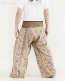 Tribal Thai Fisherman Pants Wrap Around Yoga Cotton Pajama Trousers Loose Fit Straight Cut Long Belt Khaki Brown Inca Aztec back
