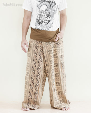 Tribal Thai Fisherman Pants Wrap Around Yoga Cotton Pajama Trousers Loose Fit Straight Cut Long Belt Khaki Brown Inca Aztec front
