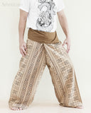 Tribal Thai Fisherman Pants Wrap Around Yoga Cotton Pajama Trousers Loose Fit Straight Cut Long Belt Khaki Brown Inca Aztec side