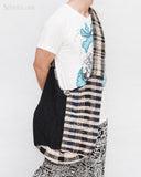 Unique Handwoven Cotton Hippie Patchwork Zen Sling Shoulder Bag Brown Black Scotch MB-46 front