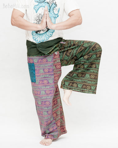 Unique Rustic Nepali Cotton Om Fisherman Pants Patchwork Wrap Around Trousers OMF-3 namaste