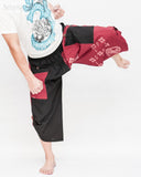 Urban Active Samurai Harem Pants (Burgundy Warrior Banner) kick