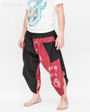 Urban Active Samurai Harem Pants (Burgundy Warrior Banner) side