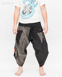 Urban Active Samurai Harem Pants Unisex (Black Spiderweb Diamond) front