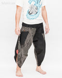 Urban Active Samurai Harem Pants Unisex (Black Spiderweb Diamond) side