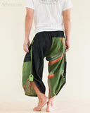 Urban Active Samurai Harem Pants Unisex Green Rainbow Brush back