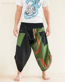 Urban Active Samurai Harem Pants Unisex Green Rainbow Brush front