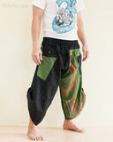 Urban Active Samurai Harem Pants Unisex Green Rainbow Brush side