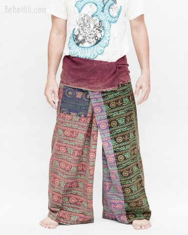 Vintage Design Om Rustic Stonewashed Nepali Cotton Fisherman Pants Patchwork Trousers OMF-4 front