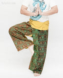 Yogi Rustic Stonewashed Nepali Cotton Om Fisherman Pants Vintage Style Patchwork Trousers OMF-6 namaste