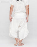 Zen meditation samurai warrior pants active cropped yoga ninja trousers plain white textured cotton flexible wrap around waist back