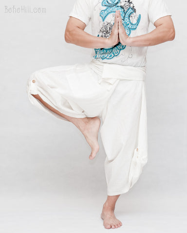 Zen meditation samurai warrior pants active cropped yoga ninja trousers plain white textured cotton flexible wrap around waist dance