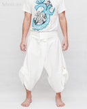 Zen meditation samurai warrior pants active cropped yoga ninja trousers plain white textured cotton flexible wrap around waist front