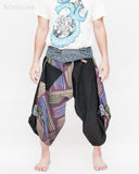 active cropped samurai pants aizome indigo wrap around waist tribal sayagata design flexible airy wide legs dark purple rainbow brush front