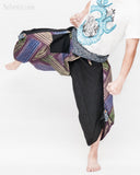 active cropped samurai pants aizome indigo wrap around waist tribal sayagata design flexible airy wide legs dark purple rainbow brush kick