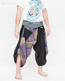 active cropped samurai pants aizome indigo wrap around waist tribal sayagata design flexible airy wide legs dark purple rainbow brush side