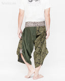 active cropped samurai pants wrap around waist brown tribal sayagata design flexible airy wide legs japanese spiral all green warrior trousers back