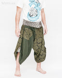 active cropped samurai pants wrap around waist brown tribal sayagata design flexible airy wide legs japanese spiral all green warrior trousers right
