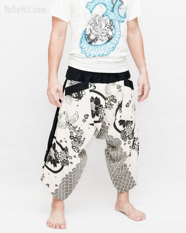 active ninja pants cropped samurai harem pants low crotch loose fit shirred elastic waist off white japanese koi fish sakura wave side