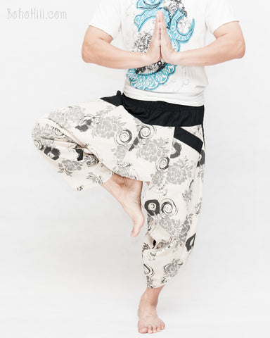 active ninja pants flexible cropped length low crotch samurai pants shirred waist japanese ink brush circle flower off white namaste