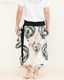Ninja Style Samurai Harem Pants Artist Trousers (Off White Black Brush Swirl)
