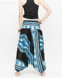 African Dashiki Harem Pants Unisex Low Crotch Yoga Trousers (Blue II) back