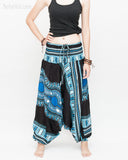 African Dashiki Harem Pants Unisex Low Crotch Yoga Trousers (Blue II) front