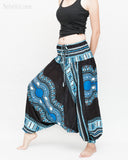 African Dashiki Harem Pants Unisex Low Crotch Yoga Trousers (Blue II) side