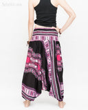 African Dashiki Harem Pants Unisex Low Crotch Yoga Trousers (Pink II) back