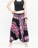 African Dashiki Harem Pants Unisex Low Crotch Yoga Trousers (Pink II) front