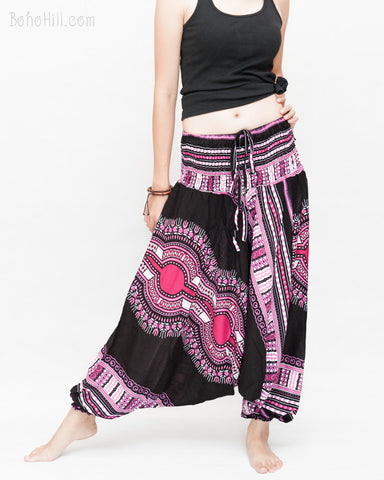 African Dashiki Harem Pants Unisex Low Crotch Yoga Trousers (Pink II) side