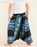 African Dashiki Harem Pants Unisex Low Crotch Yoga Trousers Sky Blue back