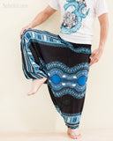 African Dashiki Harem Pants Unisex Low Crotch Yoga Trousers Sky Blue leg up