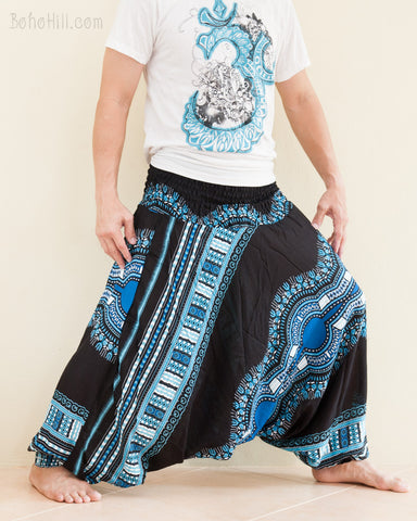 African Dashiki Harem Pants Unisex Low Crotch Yoga Trousers Sky Blue wide